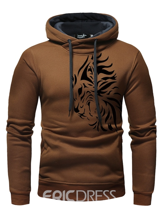 Ericdress Patchwork Printed Pullover Mens Hoodies