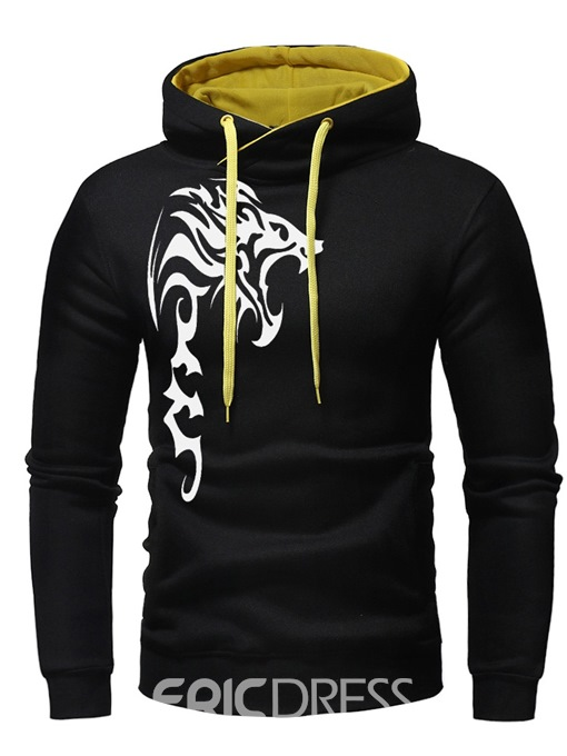 Ericdress Print Color Block Pullover Hooded Mens Casual Hoodies