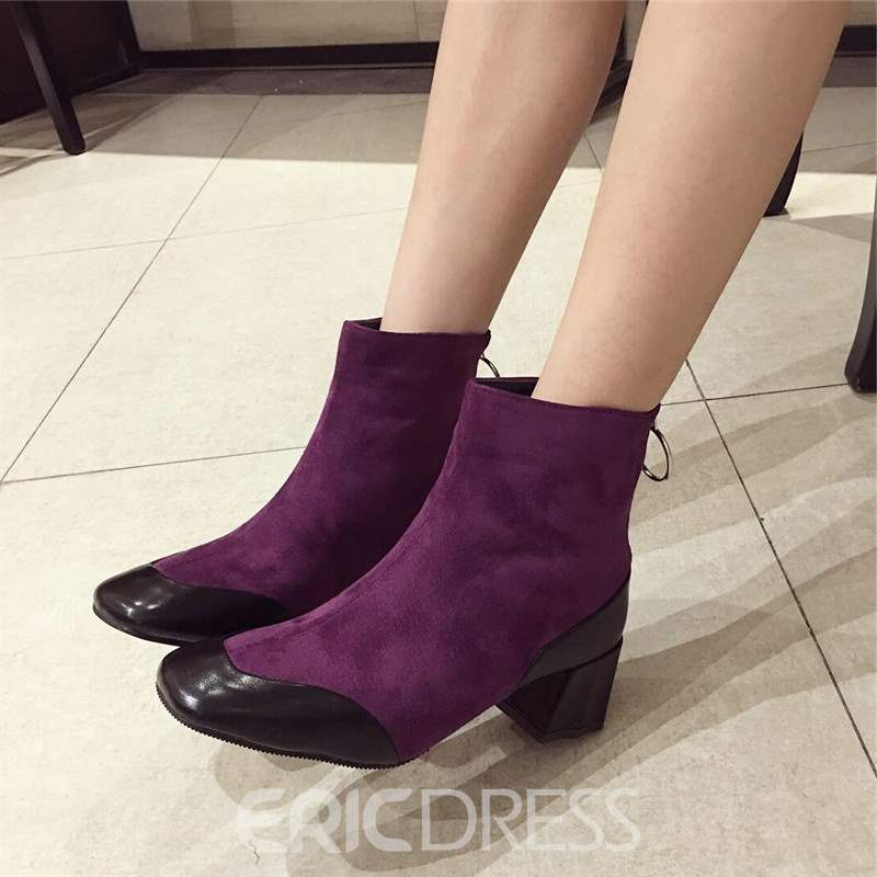 Ericdress Square Toe Patchwork Chunky Heel Women's Boots