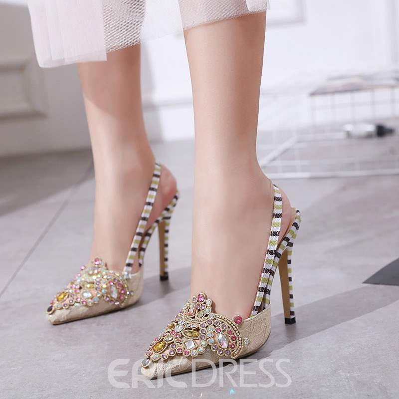 Ericdress Pointed Toe Slingback Strap Stiletto Heel Women's Sandals