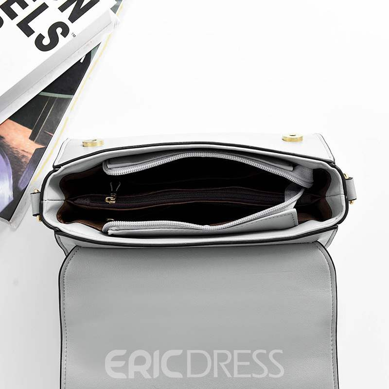 Ericdress PU Plain Thread Flap Tote Bags
