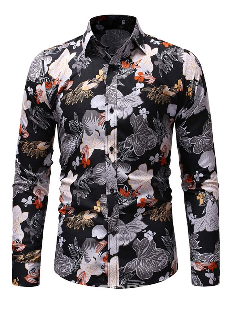 Ericdress Printed Button Up Mens Casual Shirts