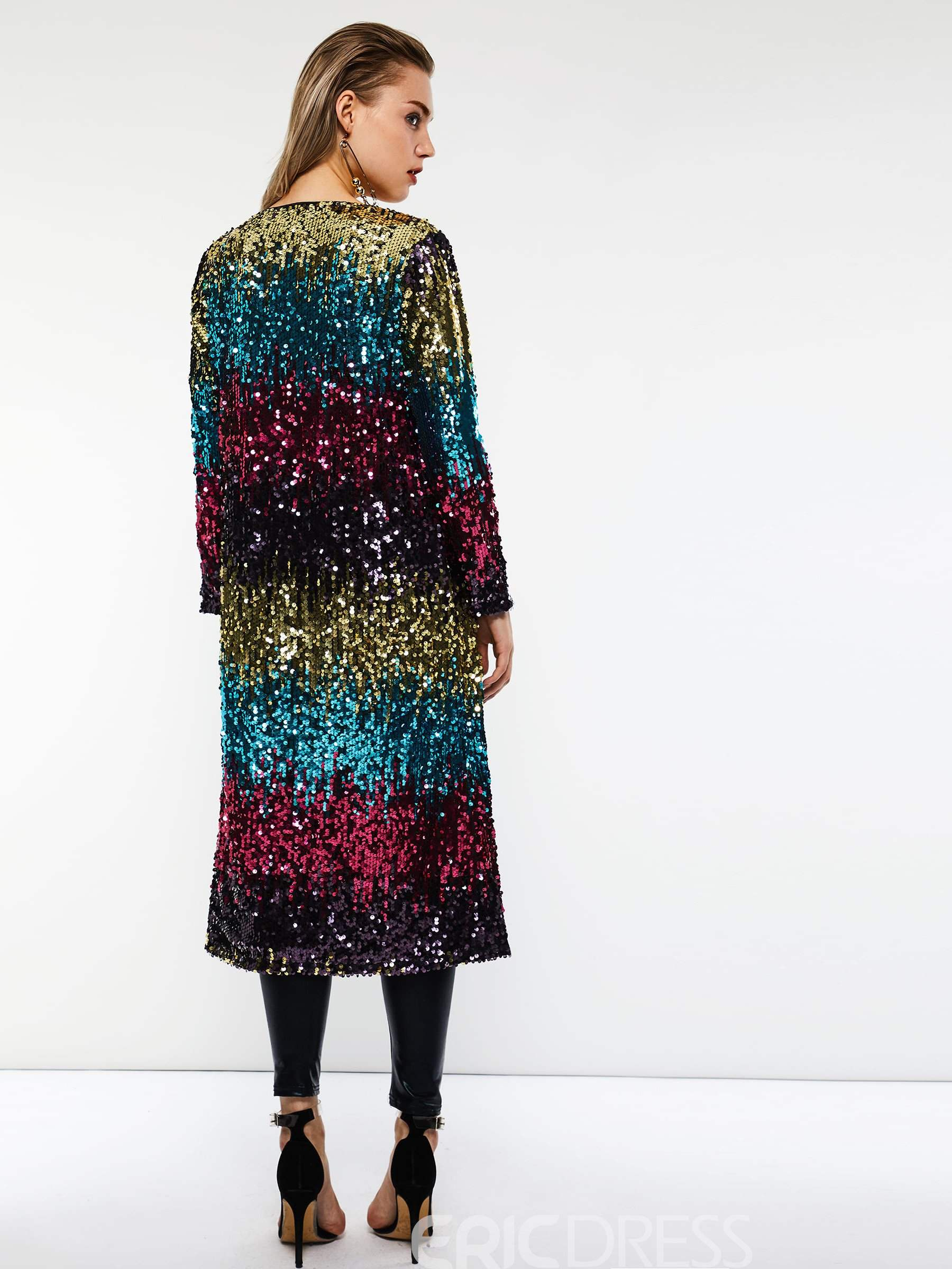 Ericdress Wrapped Slim Sequins Mid-Length Fall Overcoat