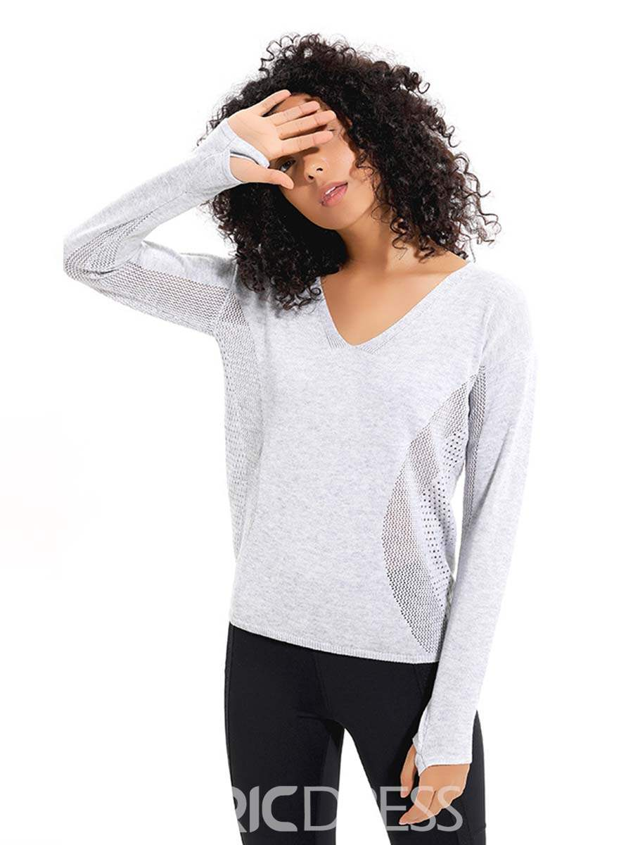 Ericdress Mesh Patchwork Solid Anti-Sweat Acrylic Pullover Tops