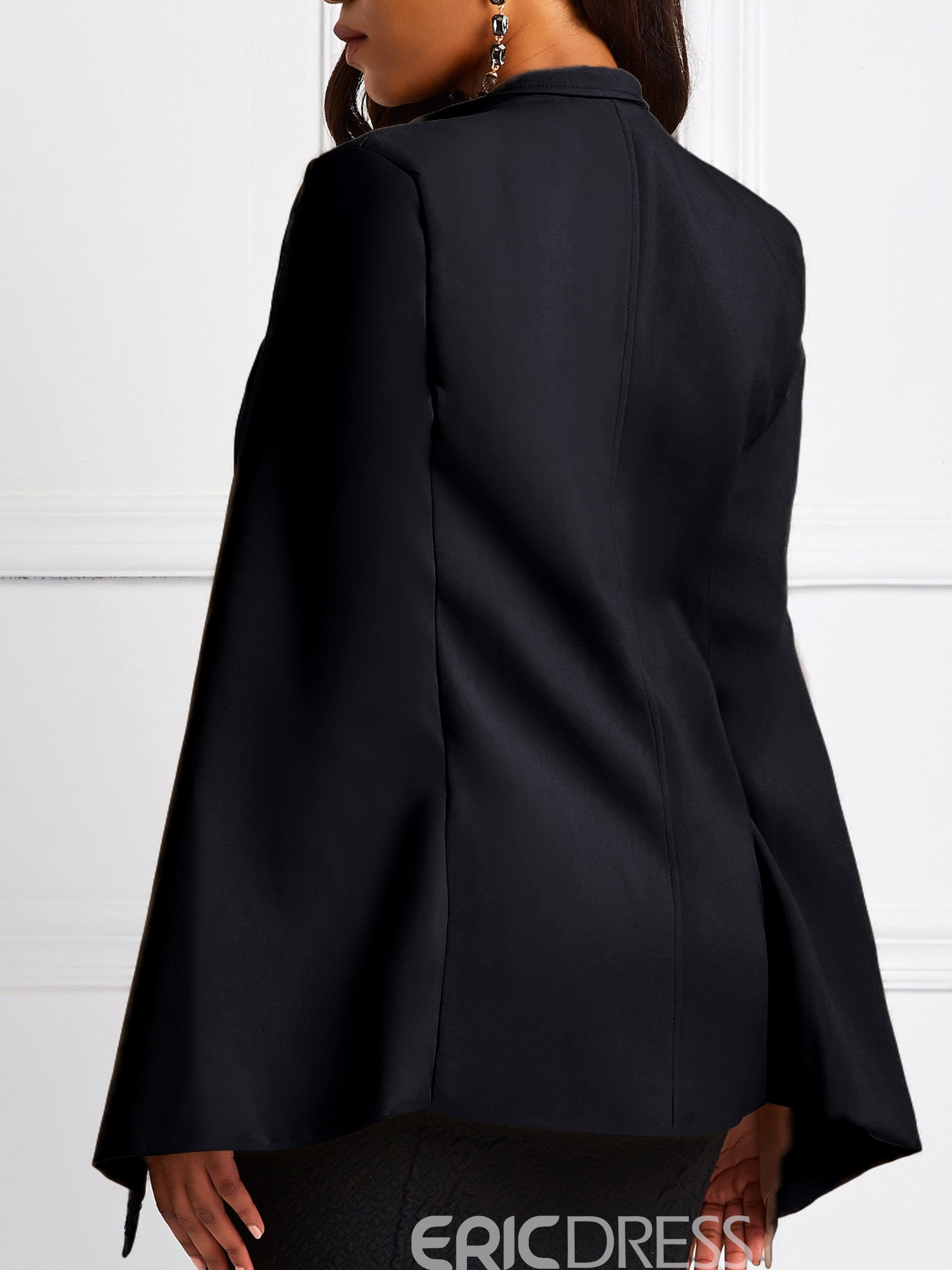 Ericdress Patchwork Cape Double-Breasted Mid-Length Overcoat