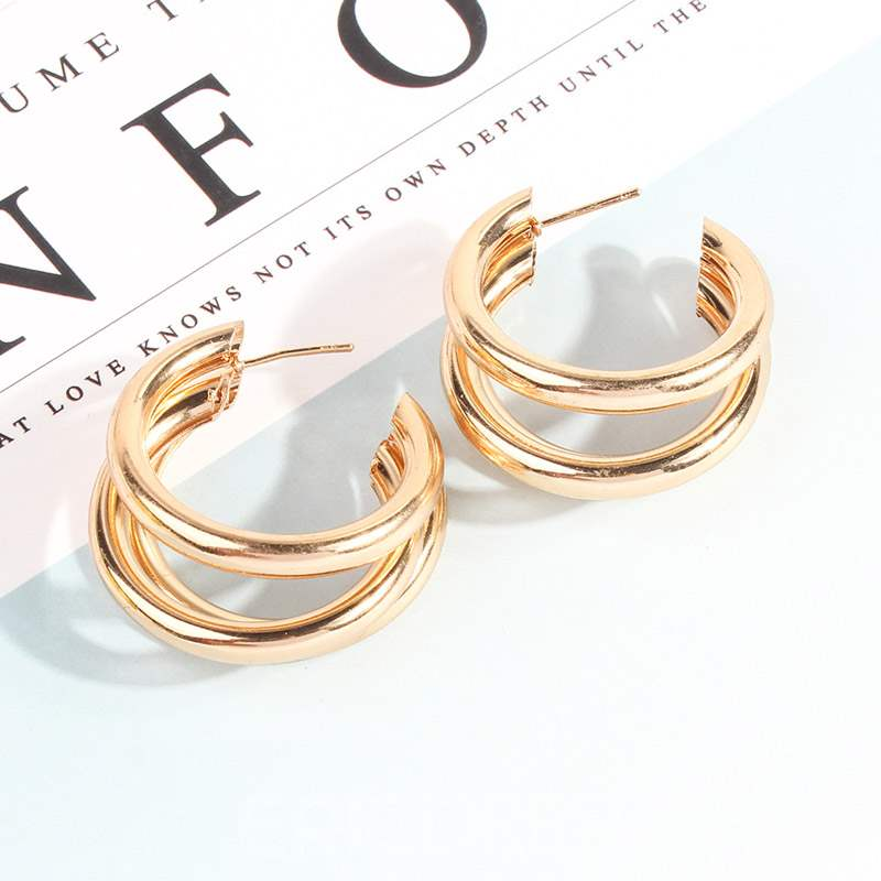 Ericdress Geometric Alloy Hollow Out Hoops Earrings