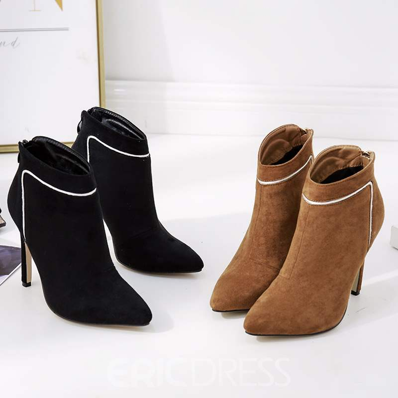 Ericdress Stiletto Heel Pointed Toe Back Zip Women's Ankle Boots