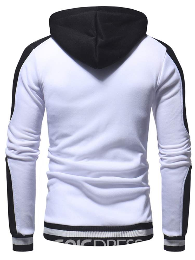 Ericdress Color Block Patchwork Hooded Mens Casual Pullover Hoodies