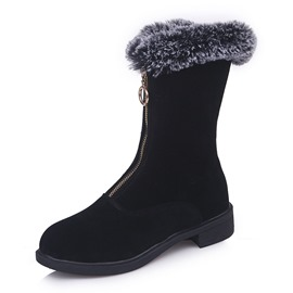 Ericdress Front Zipper Plain Block Heel Women's Snow Boots