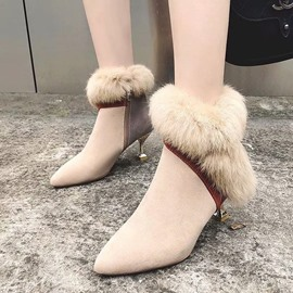 Ericdress Side Zipper Pointed Toe Faux Fur Women's Shoes