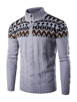 Ericdress Patchwork Stand Collar Quarter Zipper Mens Sweater