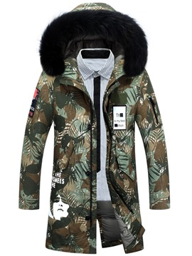 Ericdress Print Thick Hooded Zipper Mens Casual Down Coats