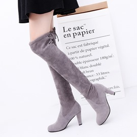 Ericdress Chunky Heel Plain Round Toe Women's Knee High Boots