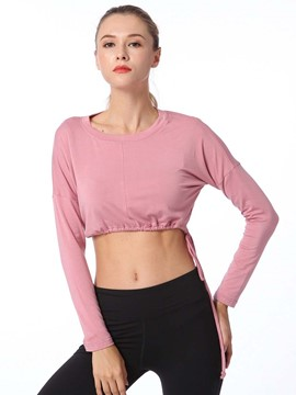 Ericdress Lace-Up Solid Breathable Long Sleeve Tops