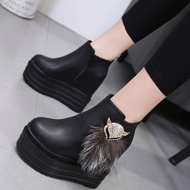 Ericdress Plain Side Zipper Wedge Heel Women's Boots