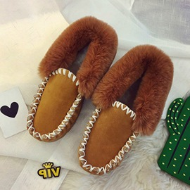 Ericdress Round Toe Faux Fur Women's Winter Flats