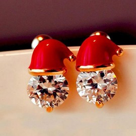 Ericdress Alloy Christmas Hat Diamante Earrings