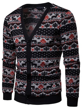 Ericdress Striped Christmas Single-Breasted Mens Cardigan Sweater