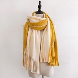 Ericdress Tassel Color Block Fashion Scarf