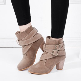 Ericdress Faux Suede Slip-On Chunky Heel Women's Ankle Boots