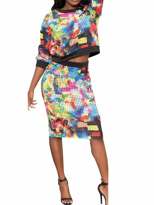 Ericdress Print Plaid Color Block Hoodie and Bodycon Skirt Two Piece Sets