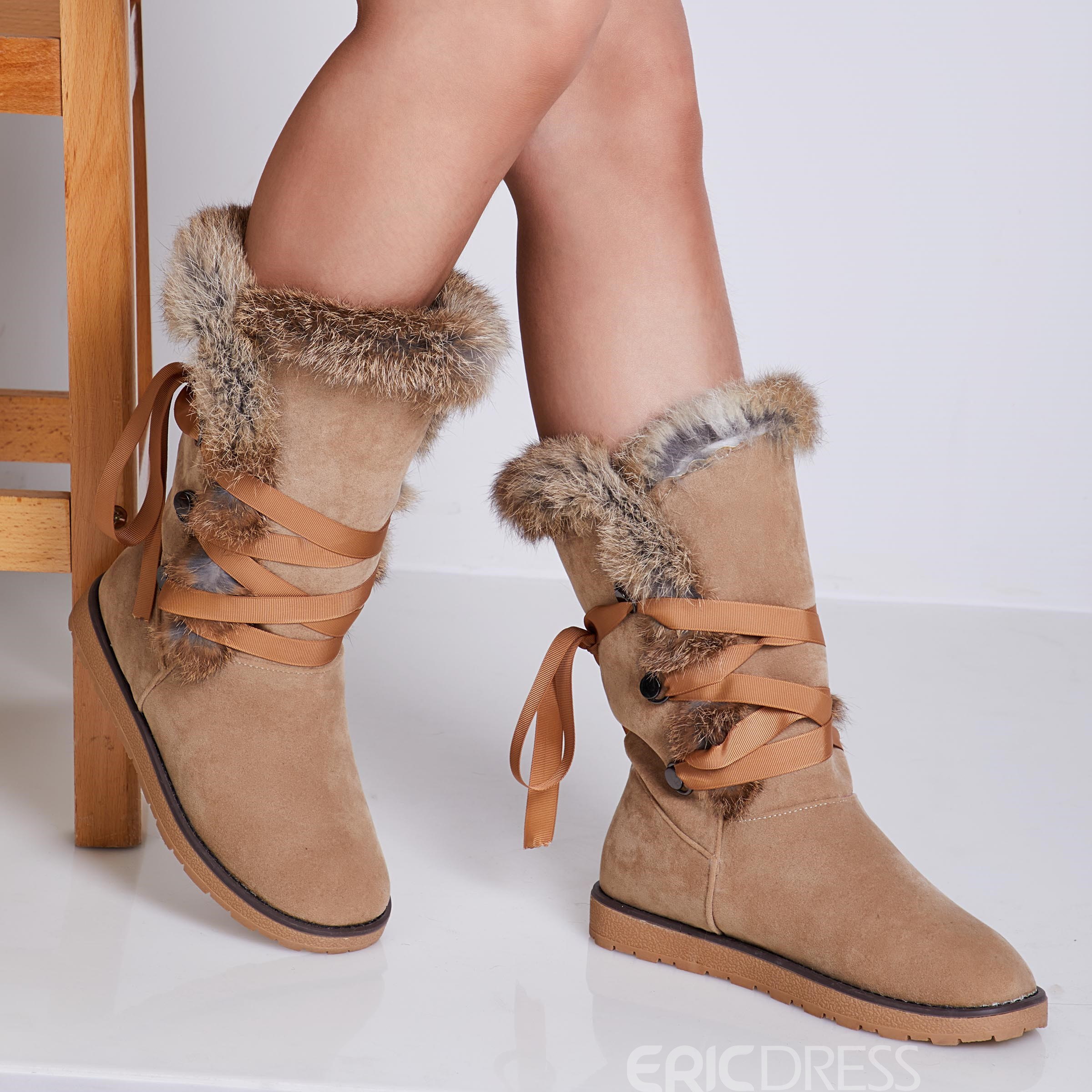 Ericdress Round Toe Lace-Up Front Women's Snow Boots