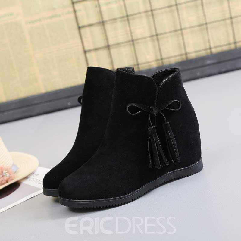 Ericdress Side Zipper Hidden Elevator Heel Women's Ankle Boots