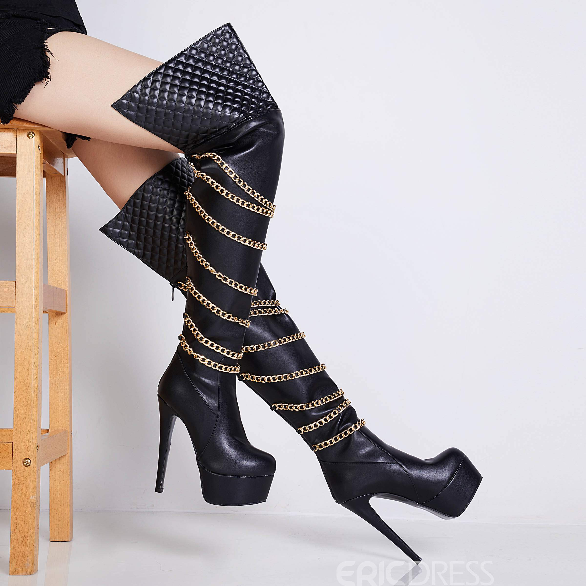 Ericdress Chain Back Zip Stiletto Heel Over The Knee Boots