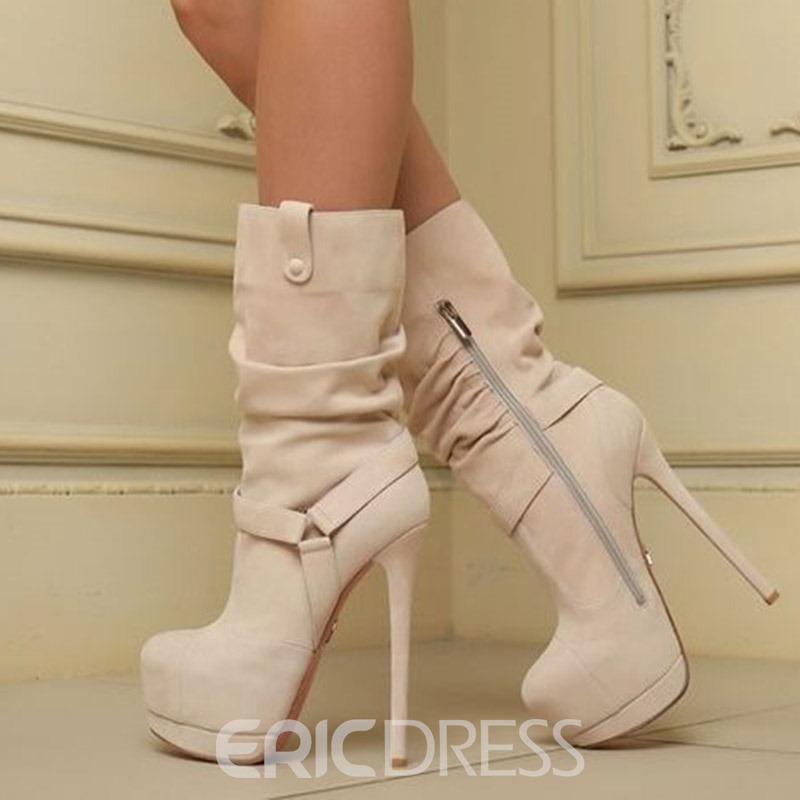 Ericdress Side Zipper Round Toe Stiletto Heel Women's Ankle Boots