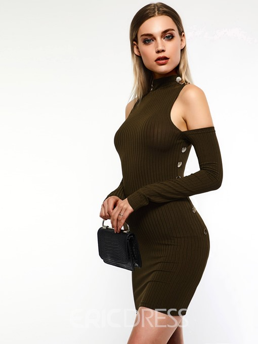Ericdress Cold Shoulder Long Sleeves Above Knee Bodycon Plain Dress