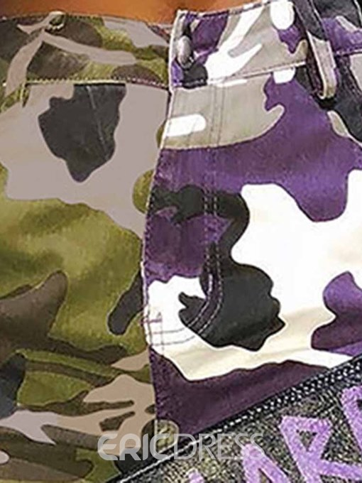 Ericdress Print Color Block Camouflage High Waist Patchwork Casual Pants