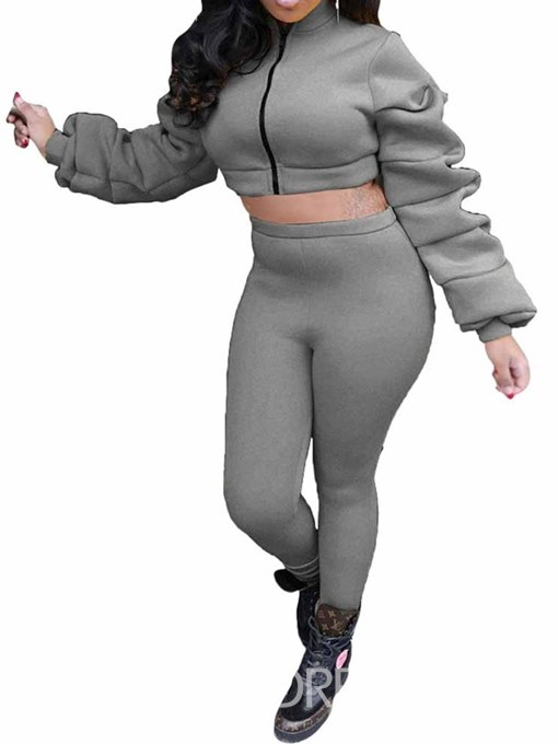 Ericdress Casual Plain Heap Sleeve Hoodie and Pencil Pants Zipper Two Piece Set