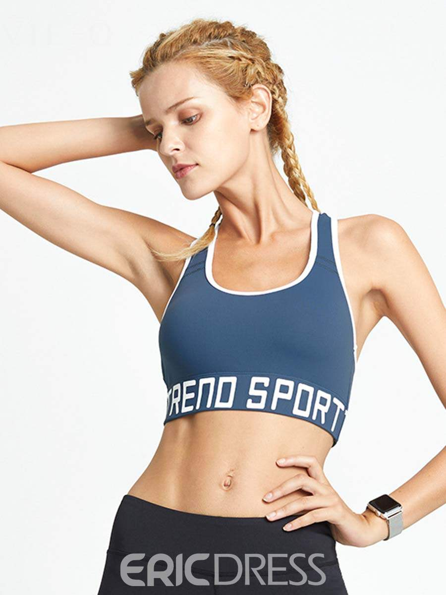 Ericdress Letter Push Up Full Cup Free Wire Sports Bras