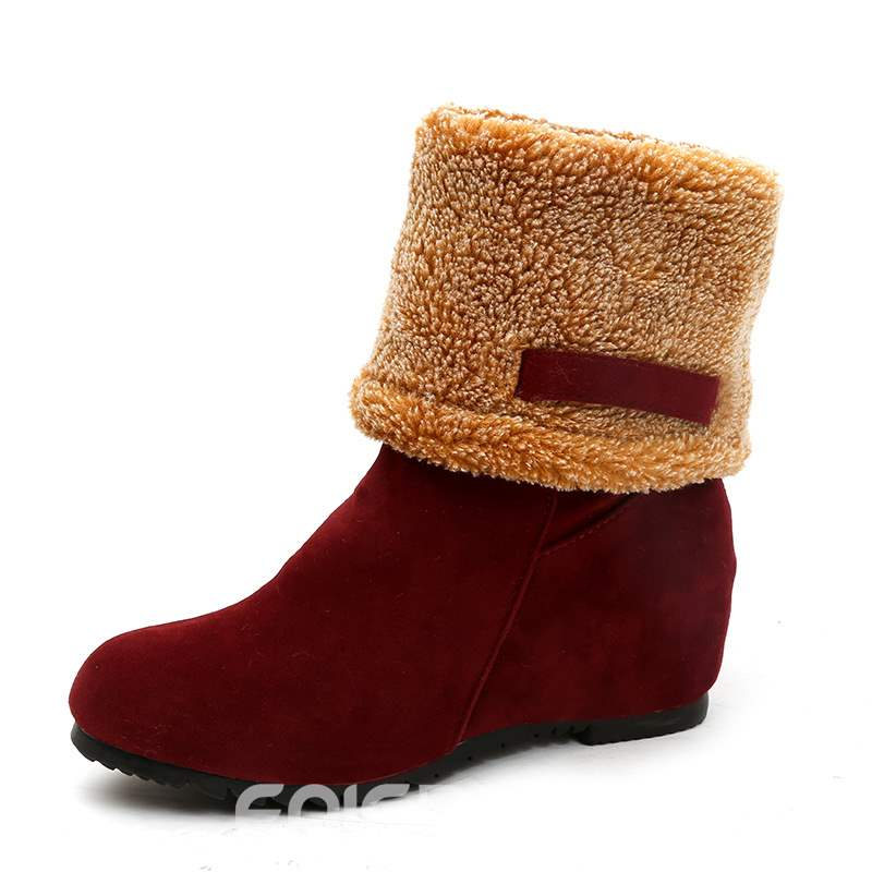 Ericdress Slip-On Hidden Elevator Heel Women's Winter Boots
