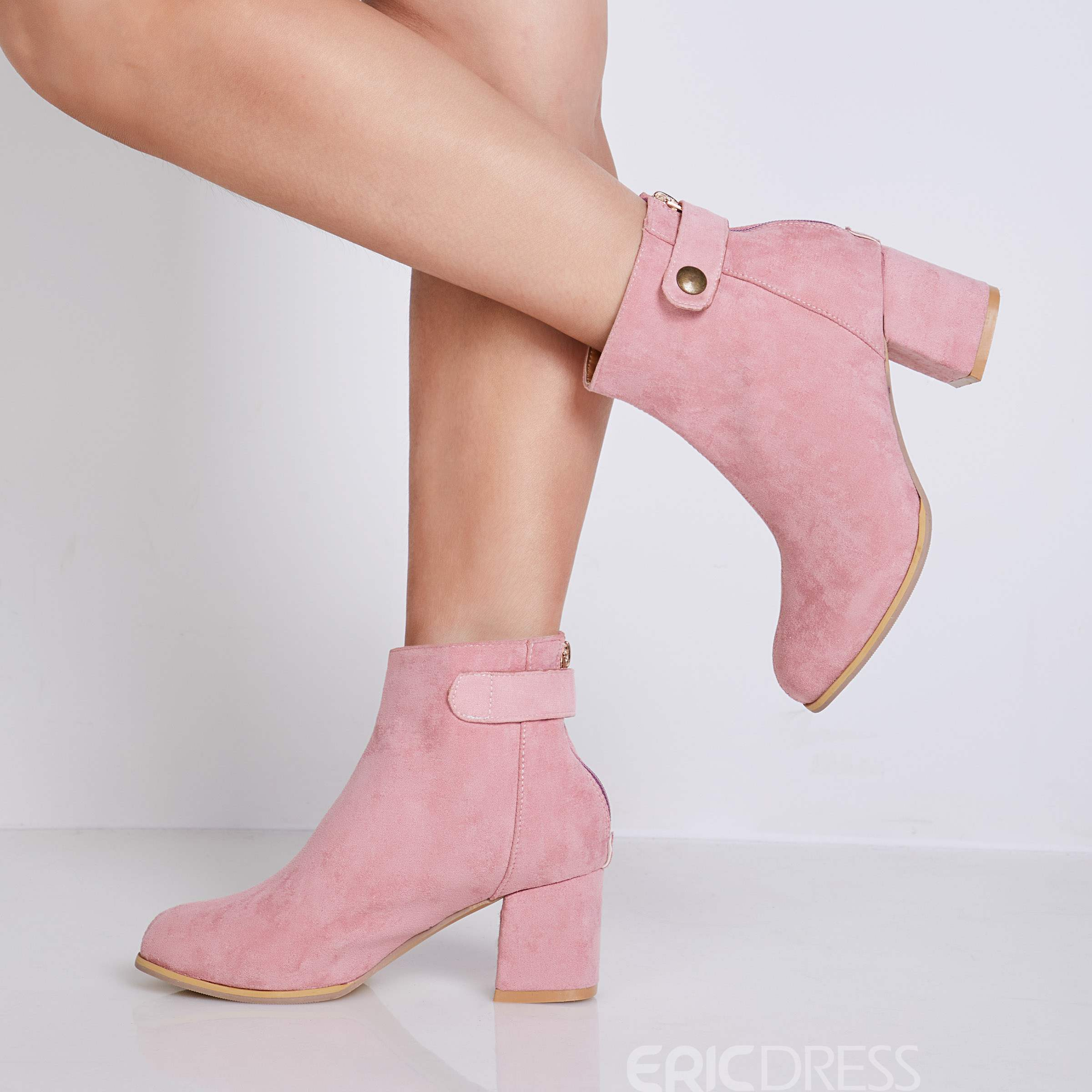 Ericdress Buckle Slip-On Plain Chunky Heel Ankle Boots
