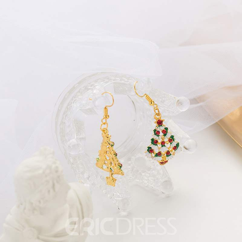 Ericdress Diamante Christmas Trees Earrings