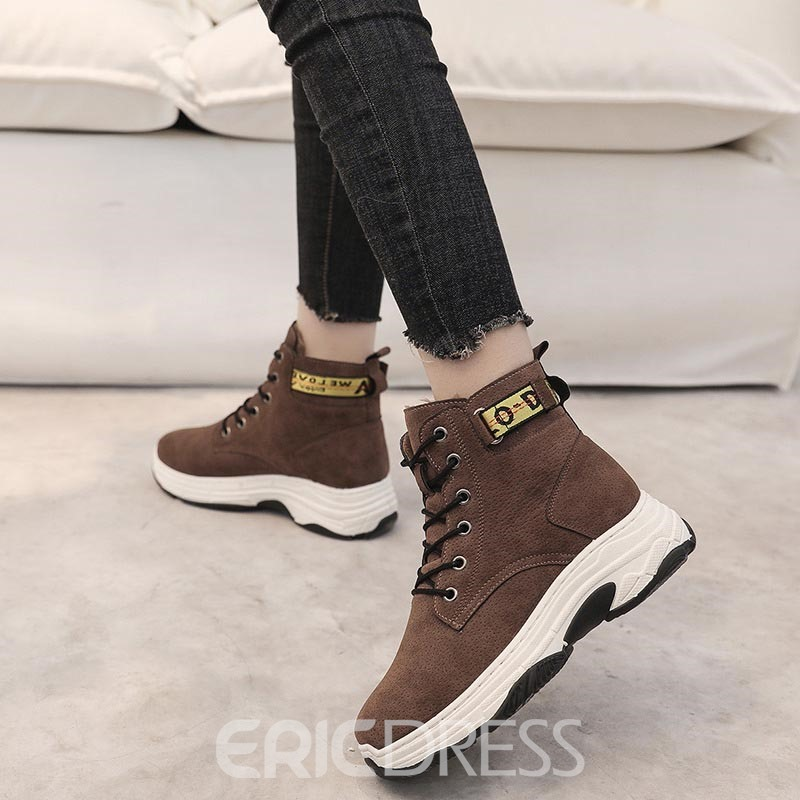 Ericdress Lace-Up Front Plain Women's Winter Boots