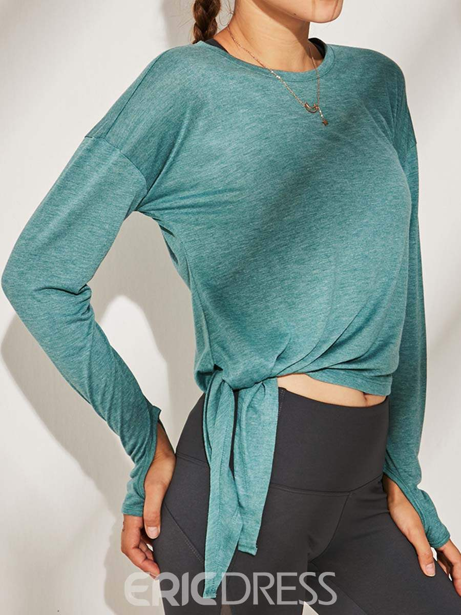 Ericdress Solid Anti-Sweat Long Sleeve Bow Knot Tops