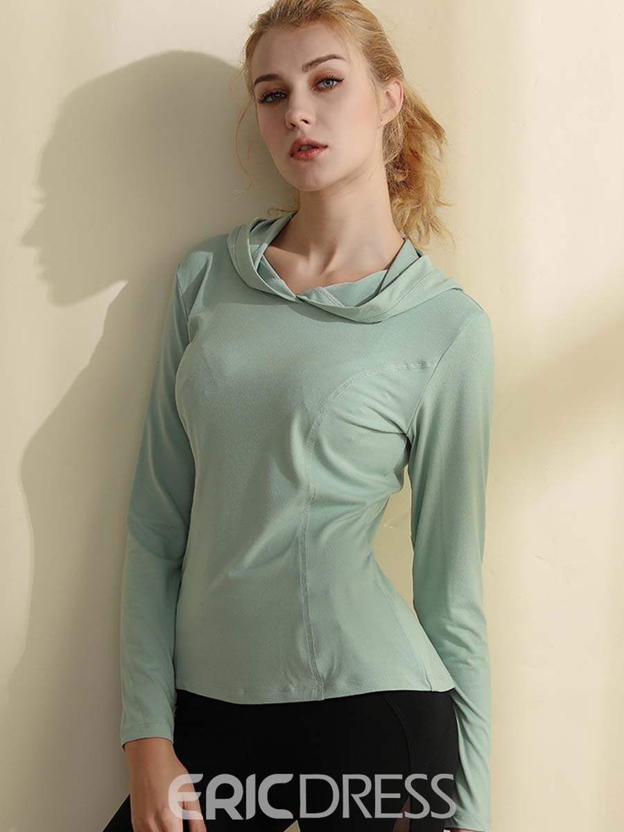 Ericdress Solid With Hood Anti-Sweat Long Sleeve Sports Tops