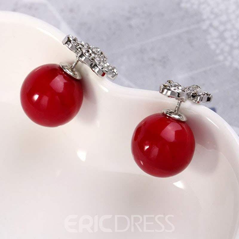 Ericdress Pearl Christmas Elk Earrings