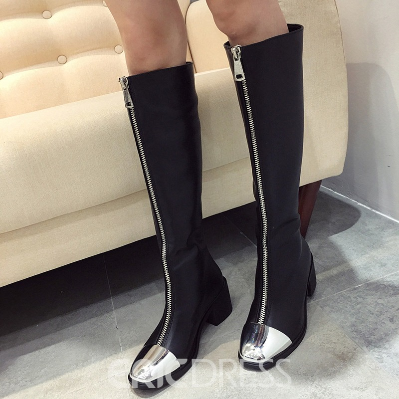 Ericdress Chunky Heel Front Zipper Square Toe Women's Knee High Boots
