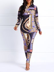Ericdress Dashiki African Style Totem Print Shirt and Pants Two Piece Sets thumbnail