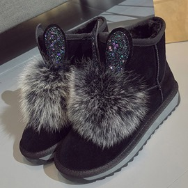 Ericdress Plain Faux Fur Round Toe Slip-On Women's Snow Boots