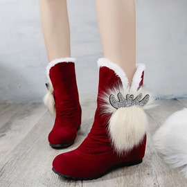 Ericdress Faux Fur Plain Hidden Elevator Heel Women's Snow Boots