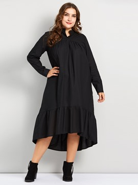 Ericdress Plus Size Ankle-Length Patchwork Long Sleeve Pullover Plain Dress