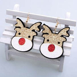 Ericdress Red Nose Christmas Elk Earrings