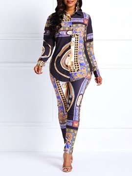 Ericdress Dashiki African Style Totem Print Shirt and Pants Two Piece Sets