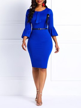 Ericdress Bowknot Three-Quarter Sleeve Round Neck High-Waist Bodycon Dresses