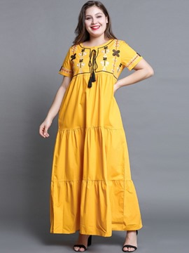 Ericdress Plus Size Round Neck Short Sleeve Lace-Up Regular Pullover Dress