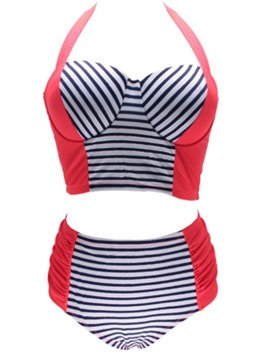 Ericdress Tankini Set Stripe Patchwork Swimwear